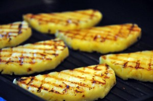 Grill the pineapple slices