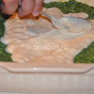 Adăugaţi o treime din sosul Bechamel