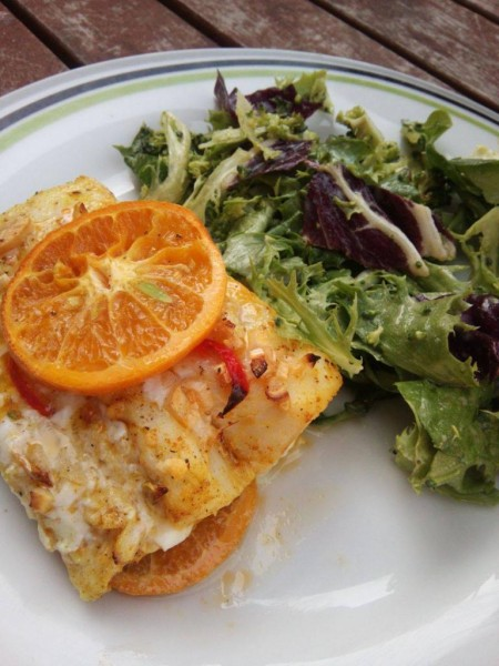 Cod cu mandarine şi curry