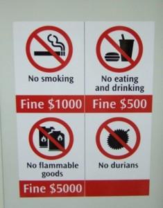 Durianul interzis in locuri publice